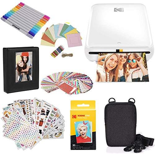 KODAK Step Printer Wireless Mobile Photo Printer with Zink Zero Ink Technology & Kodak App for iOS & Android (White) Gift Bundle