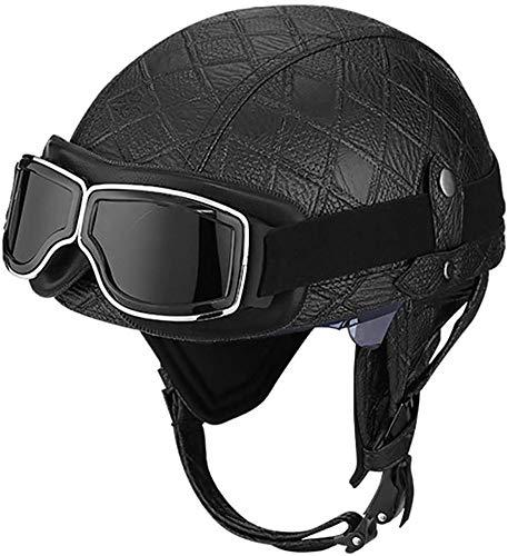 Vintage Open Face Helm Retro Motorrad Half Shell Helm Männer Und Frauen DOT Approved Baseball Cap Style Helm Fahrrad Cruiser Chopper Moped Scooter ATV Helme 5,L