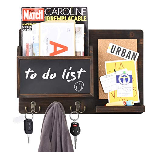 Urban Deco Mail Organizer Wall Mount Mail Sorter with 6 Key Hooks, Chalkboard and Corkboard Rustic Home Deco for Entryway, Dining Room, Office, Brown (Brown)