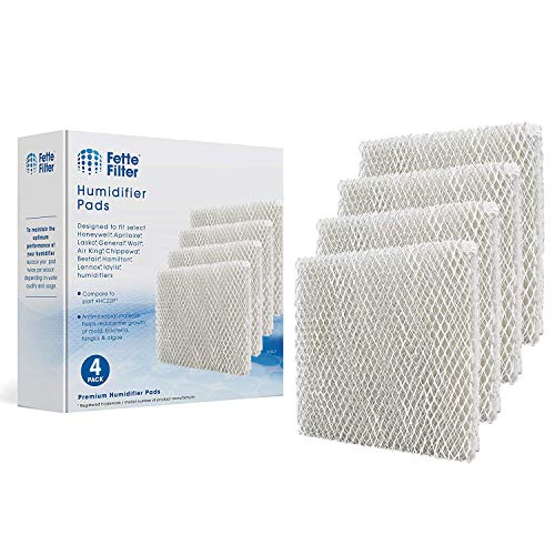 Fette Filter 4 Pack Whole House Humidifier Replacement Pads Compatible with Honeywell HC22P Also Compatible with Aprilaire Water Panel 10 Models 110 220 500 550 558 Humidifier