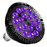 Kingbo 36W LEDブラックライト電球e26par38with 18x 2W UV 395nm LEDのホームパーティー、ステージ照明、釣り水族館、メタリックブラック。