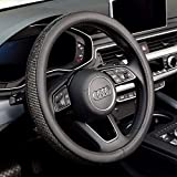 Labbyway New Diamond Leather Steering Wheel Cover with Bling Bling Crystal Rhinestones, Universal Fit 15 Inch Car Wheel Protector (Black)