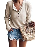 Famulily Women's Waffle Knit Tunic Tops Loose Long Sleeve Button Up V Neck Henley Shirts Beige M