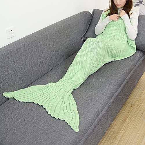UKKO Mantas para Sofa Manta De Cola De Sirena Manta De Sirena De Crochet para Adultos Super Suave Todas Las Estaciones Mantas Tejidas para Dormir-Reseda,180X80Cm Adults