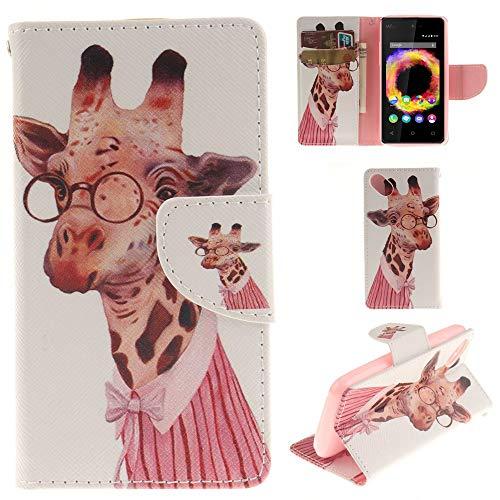 Ooboom® Wiko Sunset 2 Hülle Flip PU Leder Schutzhülle Tasche Hülle Cover Wallet Brieftasche Stand mit Kartenfächer für Wiko Sunset 2 - Giraffe