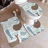AMIGGOO Juegos de Alfombra de baño para el hogar, 3 Piezas para baño, Marrón Abstracto con Animal Marino, Lobo Marino, Ballena, Pescado,...