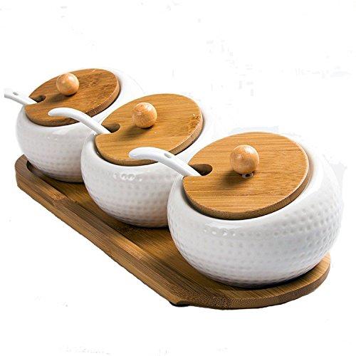 DecentGadget Set of 3 Ceramic Spice Jar//Set di 3 vasetti condimento per Contenitore condimento Vaso di spezie con Vassoio Cucchiaio (Golf Type)