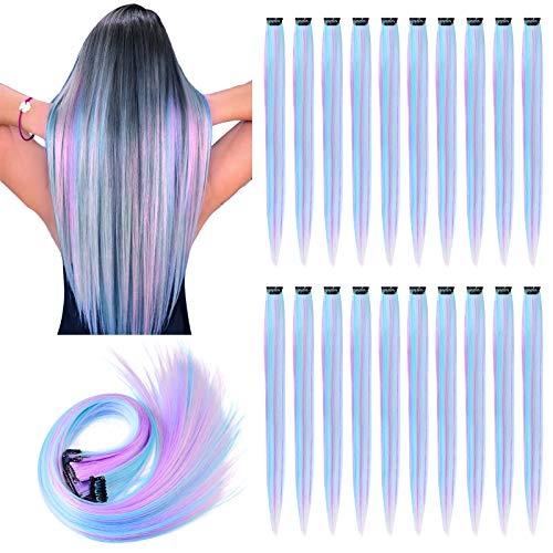 YMHPRIDE 20 PCS Farbclip in Haarverlängerung, 20 Zoll Mischfarbe Hitzebeständige glatte Haarteile für Mädchen Frauen Kinder, Mode Einhorn Cosplay Party Highlights (Weiß/Pink/Hellblau/Hellpurpur)
