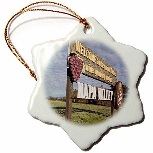 cwb2jcwb2jcwb2j 3-Inch Porcelain Snowflake Decorative Hanging Ornament, California, Napa Valley, Welcome Sign Us Wbi Walter Bibikow