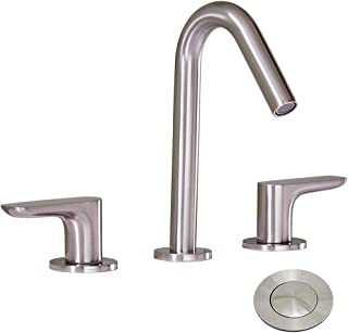 IKEBANA Best Commercial 3 Holes Two Handles Lavatory Vanity Sink Widespread Brushed Nickel Bathroom Faucet, Bathroom Sink Faucet With Pop-Up Drain and Hot & Cold Water