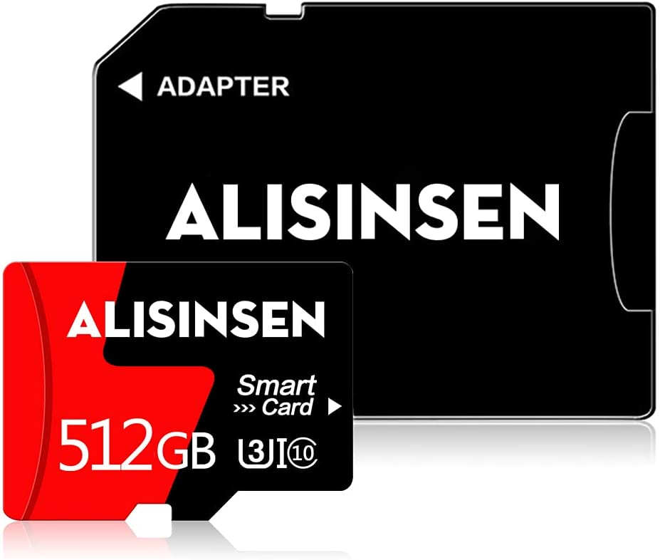 Micro SD Card 512GB TF Card Class 10 Memory Card with a Free SD Card Adapter for Cellphone/Surveillance/Camera/Tachograph/Tablet/Computers/Drone