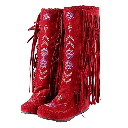 Inornever Knee High Boots for Women Moccasins Embroidered Fringed Booties Winter Flats Suede Long Snow Boots Red 9 B (M) US
