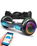 ACBK - Scooter Elettrico Hoverboard Autobilanciato con Ruote LED da 6.5'' (App + Altoparlante Bluetooth + Luci a LED + Borsa per Il Trasporto) velocità Massima: 12 km/h - (Carbonio)