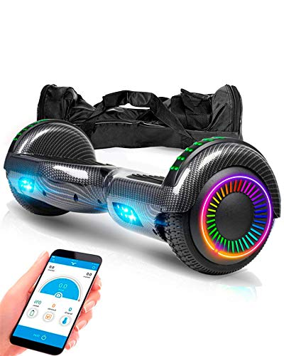 """ACBK - Hoverboard Patinete Eléctrico Hover Autoequilibrio con Ruedas de 6.5"""" - (Altavoz Bluetooth + Luces LED) - Velocidad máxima: 10-12 km/h, Autonomía 10-12 km (Negro)"""