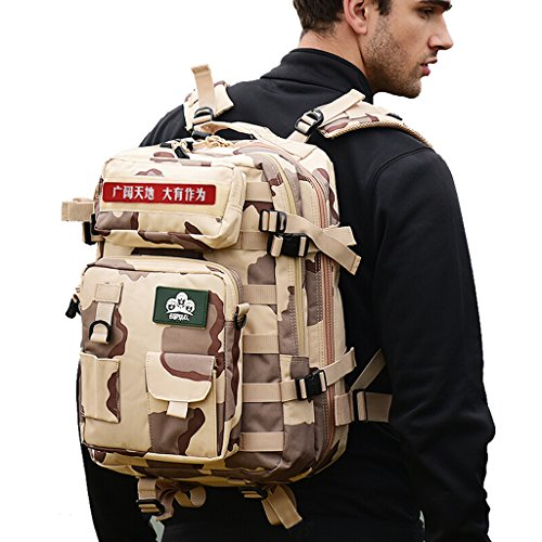 JU FU Sac d'alpinisme en plein air sac à bandoulière des forces spéciales des hommes paquet tactique Combinaison multifonctionnelle camouflage armée fan sac à dos 40L (sac de ventilateur militaire dét