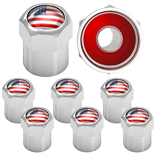 SAMIKIVA American Flag Tire Valve Stem Caps, USA with O Rubber Ring, Universal Stem Covers for Cars, SUVs, Bike, Bicycle, Trucks, Motorcycles, Airtight Seal Heavy Duty (Chrome Classic (8 Pack))