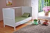 BABY Gitterbett Babybett Kinderbett mit Aloe Vera Schaumstoffmatratze Zahnschienen höhenverstellbar Weiß umbaubar zum Juniorbett - 6