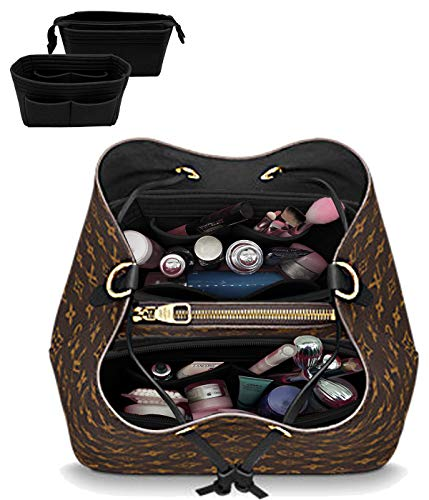 LEXSION Organizer,Bag Organizer,Insert purse organizer with 2 packs in one set fit LV NeoNoe Noé Series perfectly Black