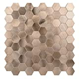 Decopus Metal Mosaic Tile Backsplash Peel and Stick (Hexagon Copper Gold 5pc/pack) for Kitchen Bathroom Wall Accents, 12''x 12'', 0.16'' Stick On Mosaic Tile