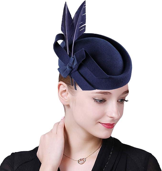 1950s Women's Hat Styles & History F FADVES Vintage Womens Dress Fascinator Wool Pillbox Hat Formal Church Wedding Tilt Hat  AT vintagedancer.com
