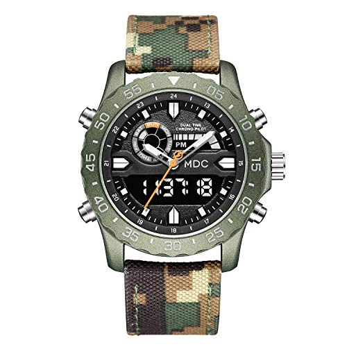 Big Face Military Tactical Watch for Men, Camo Mens Outdoor Sport Wrist Watches, Large Analog Digital Watch - Dual Display Japanese Movement, Heavy Duty Stainless Steel Case, 3ATM Water Resistant