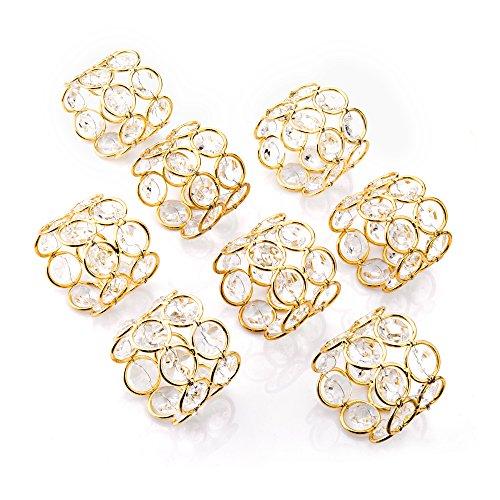 Feyarl 8 Glänzend Kristall Perlen Serviettenschnalle Hochzeit Fokus, besondere Anlässe, romantische Kerzenlicht Bankett Feier Dekoration (Gold) (8)
