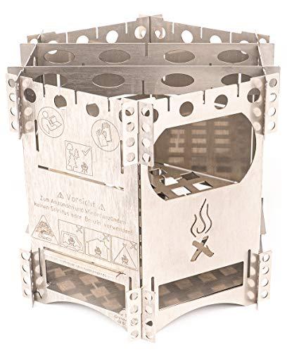 WIKA Hobo Kocher FlexFire 6 Made in Germany mobiler Camping Ofen, Outdoor Kocher Grill für Bushcraft Angeln Wandern Reisen Familien V4A Edelstahl Premium Esbit Trangia Gas Kocher für Jedermann