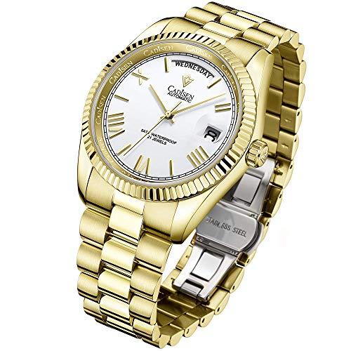 Herren 40mm Day Date Homage Gold Automatikuhren, Miyota 8285 Uhrwerk, Edelstahlgehäuse und Armband, Saphirspiegel wasserdichte Armbanduhr mit Automatikaufzug (Weiss)