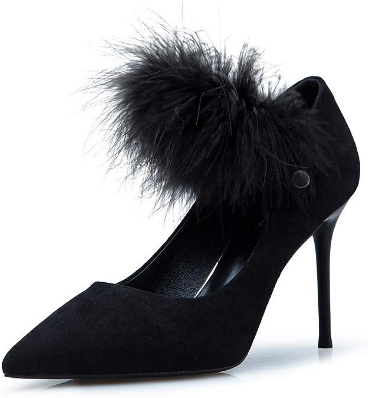 Meiren Plush High Heels Women Stiletto Pointed Single shoes Sexy Wild Autumn