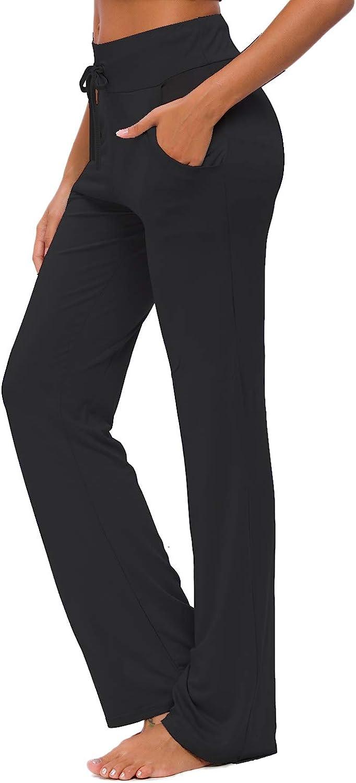 Womens Yoga Pants with Pockets Straight-Leg Loose Comfy Modal Drawstring Lounge Running Long Active Casual Sweatpants