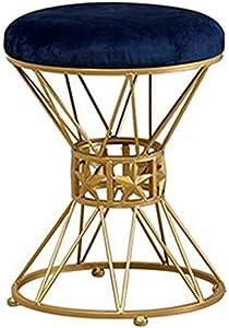 Gartenmöbel Mode Make-up-Hocker, Gepolsterter Hocker Runde Fußstütze Für Wohnzimmer Schlafzimmer Coffee Shop-Blue, 35x45 cm Küche Osmanen LEBAO (Farbe : Blau)