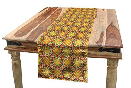 ABAKUHAUS Floral Camino de Mesa, Teja Zellige Marroquí, Rectangular para la Cocina Estampado Lavable No Destiñe, 40 x 225 cm, Multicolor