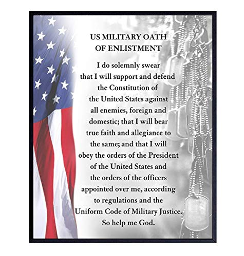 American Flag Wall Art - Patriotic Room Decor - Gift for Military Soldiers, Veterans, Vets, Army, Navy, Air Force, Marines, USMC, Coast Guard, Men, Women -Oath of Enlistment 8x10 Photo-UNFRAMED Poster