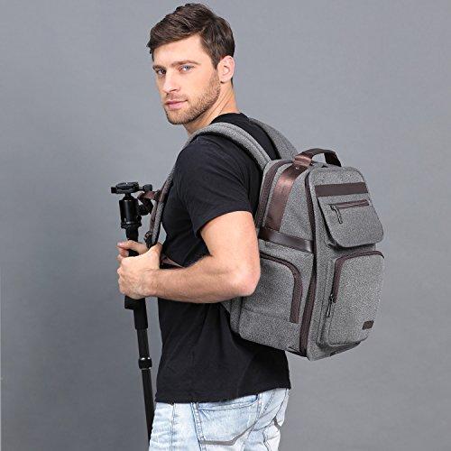 K&F Concept Kamera Rucksack Reiserucksack Fotorucksack für Canon Nikon mit abnehmbares Kameraeinsatz XL(inkl. 5 in 1 Reinigungsset)