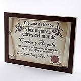 Calledelregalo Diplomas pergamino Personalizados para Todos los destinatarios (A los Mejores Padres) con Marco