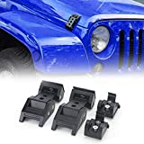 AUDEXEN Hood Latches, Latch Locking Hood Catch Kit, Black Stainless Steel Compatible with Jeep Wrangler JK JKU 2007-2018