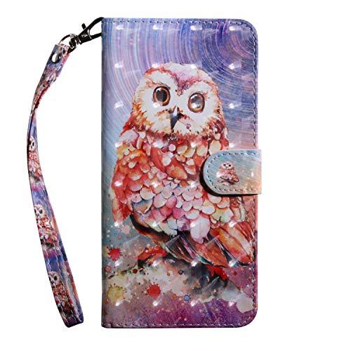 Sunrive Hülle Für Alcatel U5 3G, Magnetisch Schaltfläche Ledertasche Schutzhülle Hülle Handyhülle Schalen Handy Tasche Lederhülle(T Eule 1)+Gratis Universal Eingabestift
