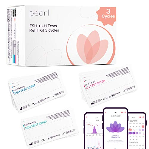 Pearl Kit de 3 Ciclos. Kit de Test de Ovulación y App. Predicción de la Ovulación, Ventana Fértil, Seguimiento Hormonal y Gráficos