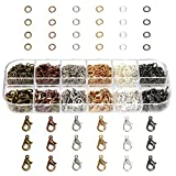 132PCS Lobster Claw Clasp and 900PCS Open Jump Rings, 6 Colors Jewelry Finding Kits with Plastic Box for DIY Craft, Necklaces Bracelet Extension Chain for Jewelry Making