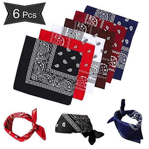 Sylanda 6er Bandanas Paisley Damen und Herren 55 x 55 cm Halstuch Biker Tuch Schal Kopftuch, 100% Baumwolle Set für Frauen, Männer und Kinder Mode-Vierecktuch
