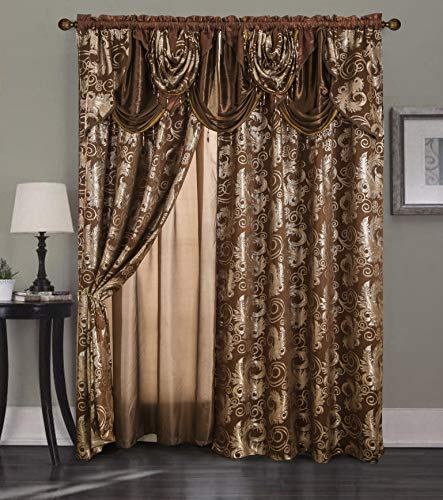 """Golden Rugs Jacquard Luxury Curtain Window Panel Set Curtain with Attached Valance and Backing Bedroom Living Room Dining 112""""X84"""" Each Jana Collection (Brown)"""