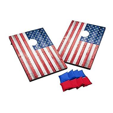 Wild Sports 2'x3' Wood Stars & Stripes Flag Cornhole Set, Red/White/Blue