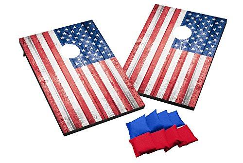 Wild Sports TT-SAS-02 USA Flag Cornhole Outdoor Game Set, MDF Wood, 2' x 3' Foot, Red/White/Blue