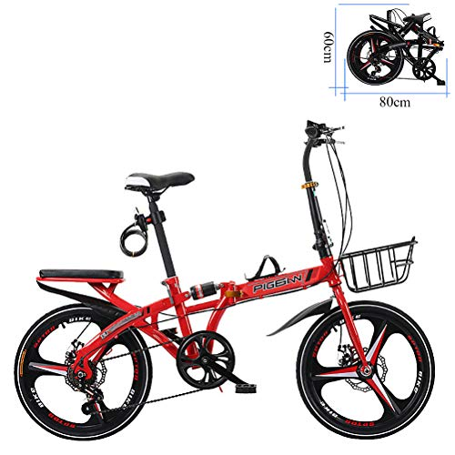 ZEIYUQI Bicletas Plegables Adulto Mujer 20 Pulgadas Freno De Disco Doble Bicicletas para Montar Al Aire Libre,Rojo,A