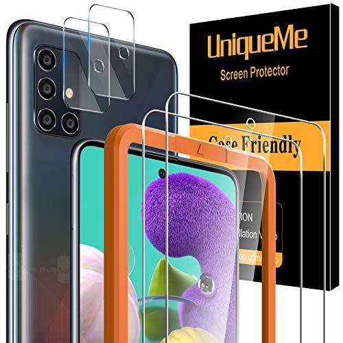 [4 Pack] UniqueMe 2 Pack Protector de Pantalla Compatible con Samsung Galaxy A51 4G / 5G y 2 Pack Protector de lente de cámara Cristal Templado, [Sin Burbujas] Vidrio con marco de instalación