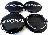4 tapas centrales originales de Ronal, 64 mm, color negro brillante