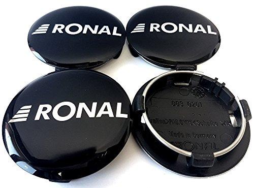 4x Original Ronal 64mm Nabendeckel Nabenkappe Schwarz Hochglanz Center Cap Deckel Felgendeckel