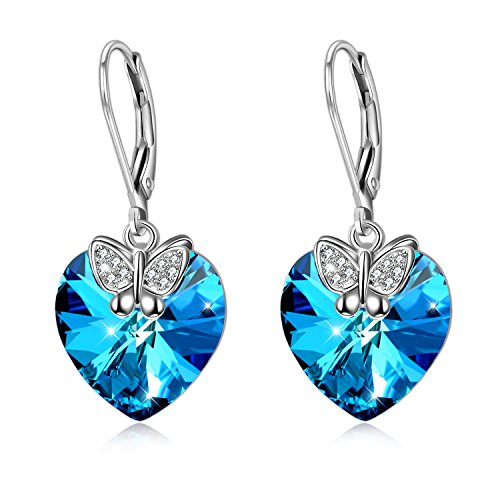 AOBOCO Women Girls Drop Earrings, 925 Sterling Silver Butterfly Heart Earrings with Blue Crystals, Jewellery Gift for Her Valentin's Day Mother's Day Christmas Thanksgiving (Blue)