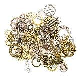 KIMI-HOSI 76 Piezas Steampunk Engranajes Esqueleto Encantos Reloj Rueda Engranaje Antiguo para Decoración de Bricolaje Fabricación de Joyas Colores Mezclados