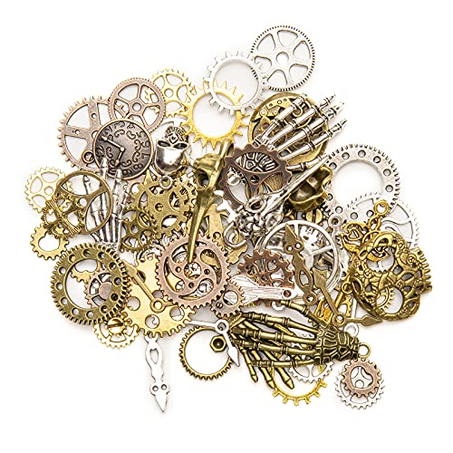QUANTITY: 76 vintage pendant decorations. Including: 4 skeleton hands, 4 human skulls, 2 bird skulls, 2 watches, 1 large key, 1 clock and gears of various sizes, clock hands, etc. VINTAGE DECORATIONS: Antique gear pendants are very suitable for scrap...